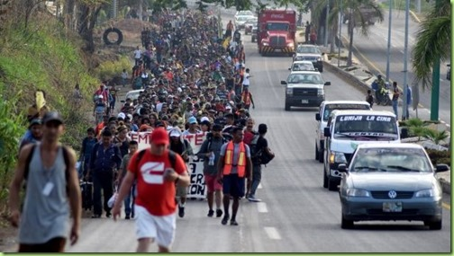 migrants marching through mexico