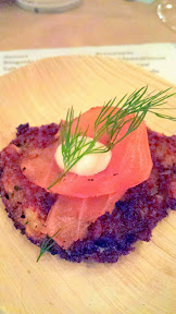 A taste of Taste of the Nation- a taste of potato latkes with steelhead pastrami, sour cream, and dill from Imperial