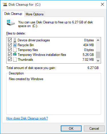 disk clean up selection