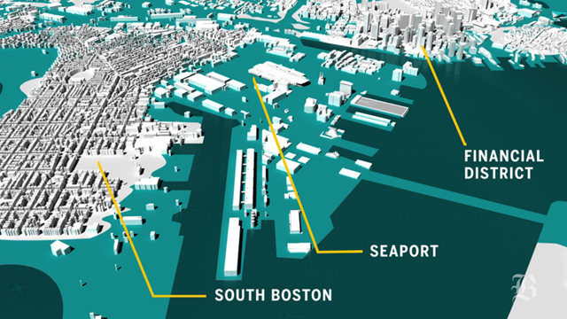 Projected flooding in Boston in the decades 2070-2100 under three feet of sea level rise. Graphic: Boston Globe