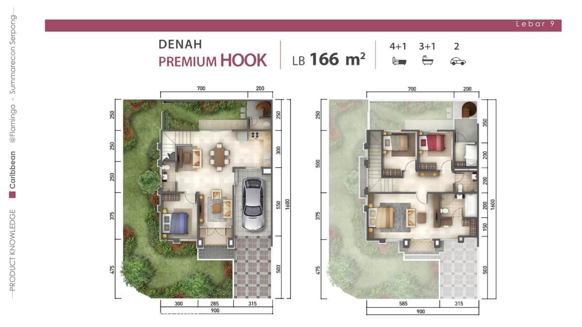 Rumah Caribbean Tipe 9x16 Denah Premium Hook