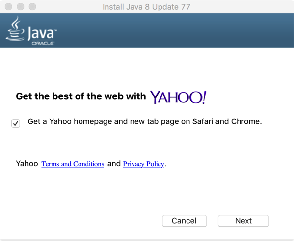 Java can installl crapware if not careful