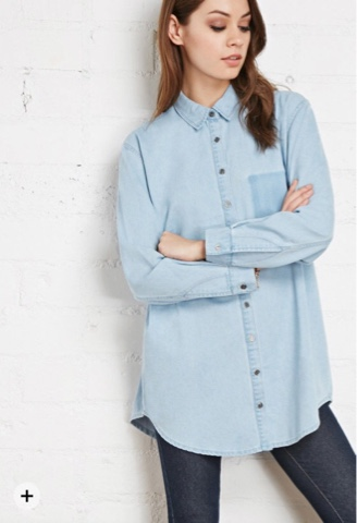 c8b4abb0519941 It's an oversized chambray shirt and adds a bit of casualness to chic  outfits.