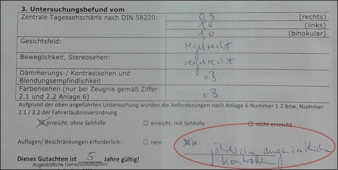 Führerschein LASIK Augenärztliches Gutachten FALSCH