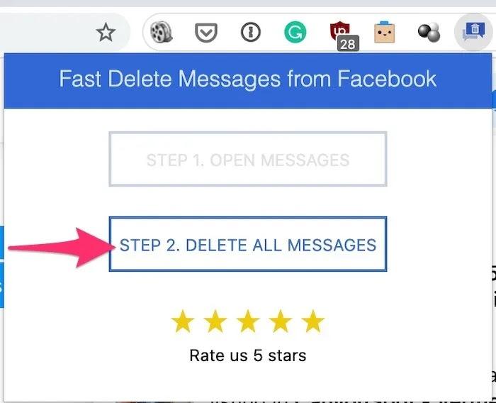 حذف جماعي لرسائل Facebook