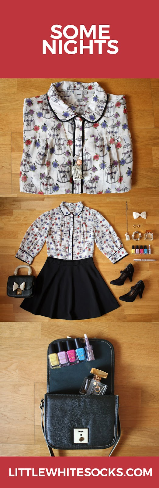 printed blouse skater skirt outfit
