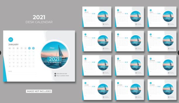 Design Kalender Dengan Thema Biru Simple dan Menarik   Design Kalender Gratis