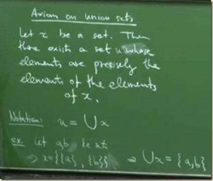 physics set theory axiom union 1