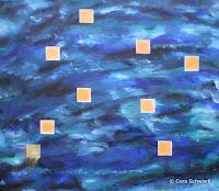 """""""Das Wasser trägt die Elemente der Hoffnung"""", Öl auf Leinwand, 80x70, 12/2007"""