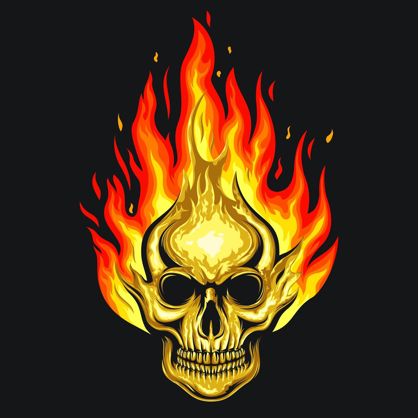 Human Skull Fire Illustration Free Download Vector CDR, AI, EPS and PNG Formats
