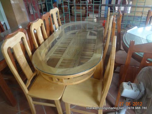 Bàn ăn gỗ sồi kiểu dáng hiện đại 6 ghế mặt kính chống nứt mặt bàn