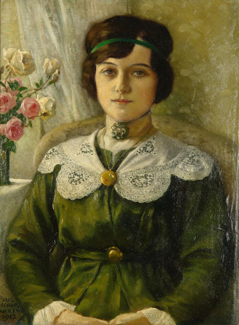 Paul Gustave Fischer - Portrait of a young woman in a green dress