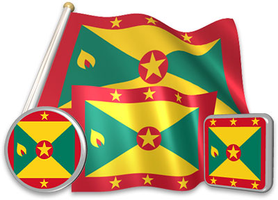 Grenadian flag animated gif collection