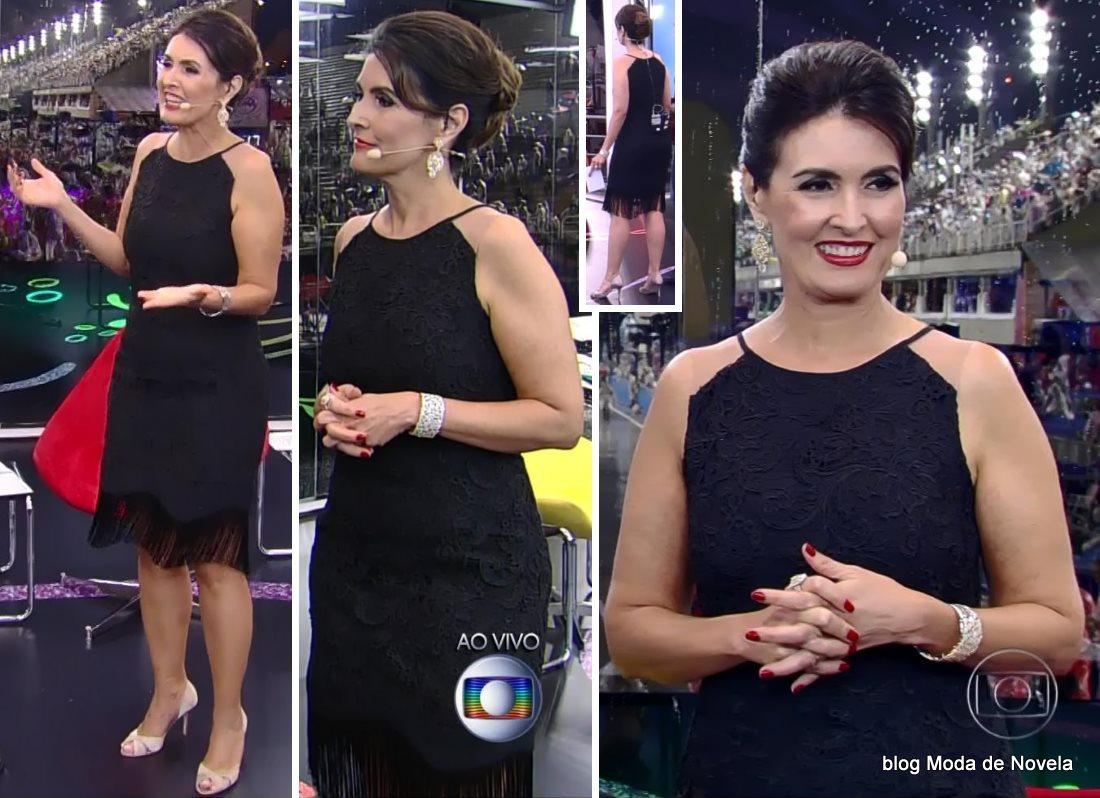 moda do carnaval Globoleza, vestido preto da Fátima Bernardes dia 15 de fevereiro de 2015