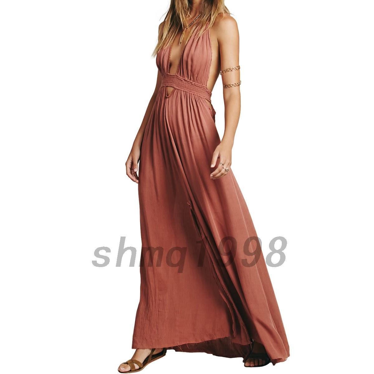 damen elegant lange sommerkleider r ckenfrei kleid ohne arm kleid maxikleid ebay. Black Bedroom Furniture Sets. Home Design Ideas