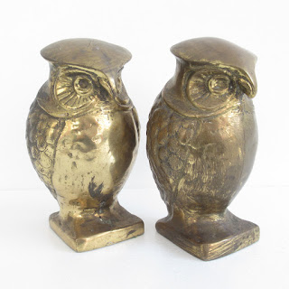 Brass Vintage Owl Bookends