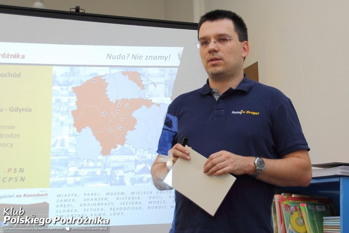 Maciej na spotkaniu Klubu Polskiego Podróżnika