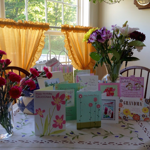 Mum's birthday cards and flowers