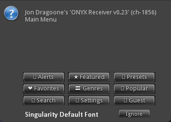 ONYX - Singularity Default Font Menu UNICODE