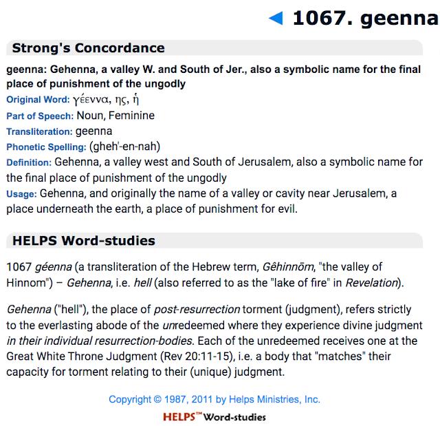 Gehenna, Hell,Lake of fire,