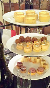 Heathman Beaujolais Nouveau 2015 Passed Hors D'Oeuvres included Duck Breast and Mango Brochette with Coca Nibs, Smoked White Fish Mousse with?Caviar, Wild Mushroom and Goat Cheese Strudel, Savory Leek Tartes, and more
