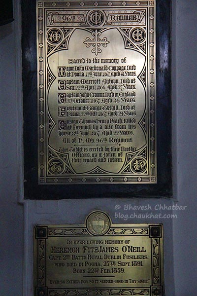 Memorial tablets inside St. Mary's Church, Pune