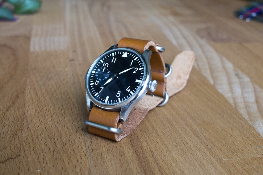 Parnis black pilot watch with a light-brown leather strap from eBay