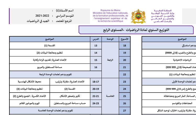توزيع سنوي: الجيد في الرياضيات المستوى الرابع 2021/2022