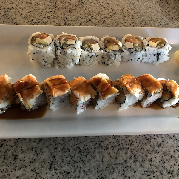 Philadelphia roll and Scorpion roll