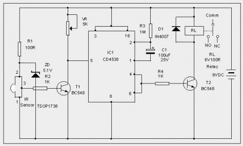 How to make Mp3 player at Home: IR Switch Circuit diagram