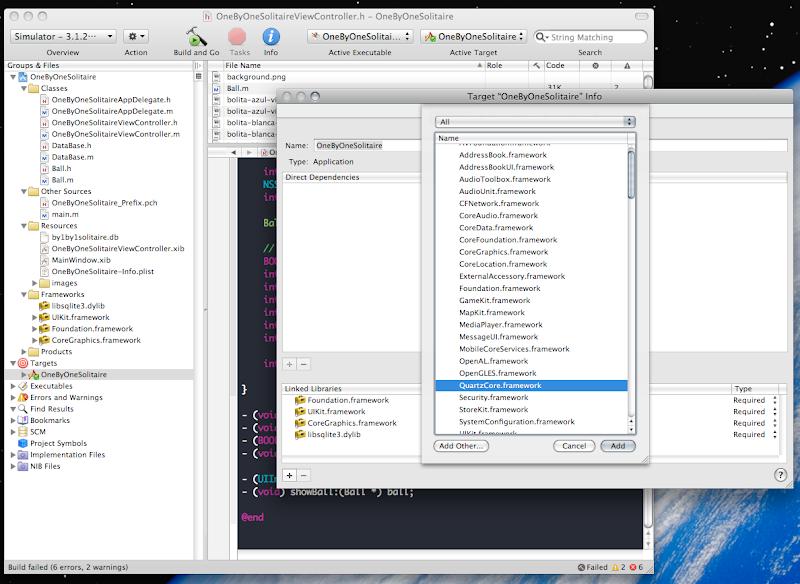 adding QuartzCore Framework