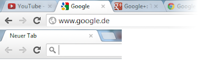 Chrome Tabs gestapelt