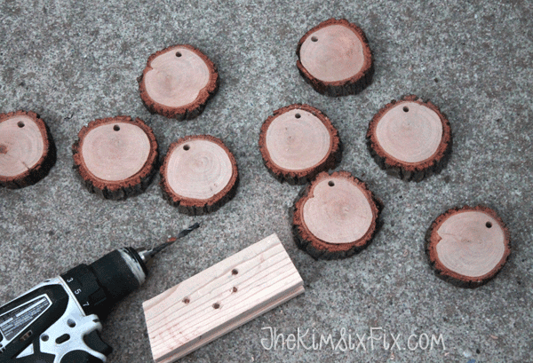 Drilling wood slices for garland