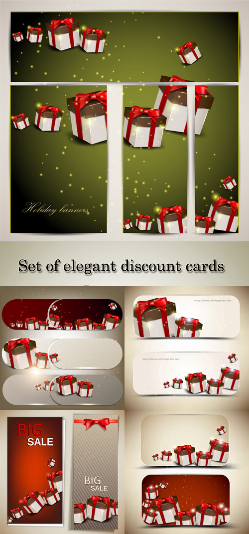 Stock: Set of elegant discount cards and banners with gifts