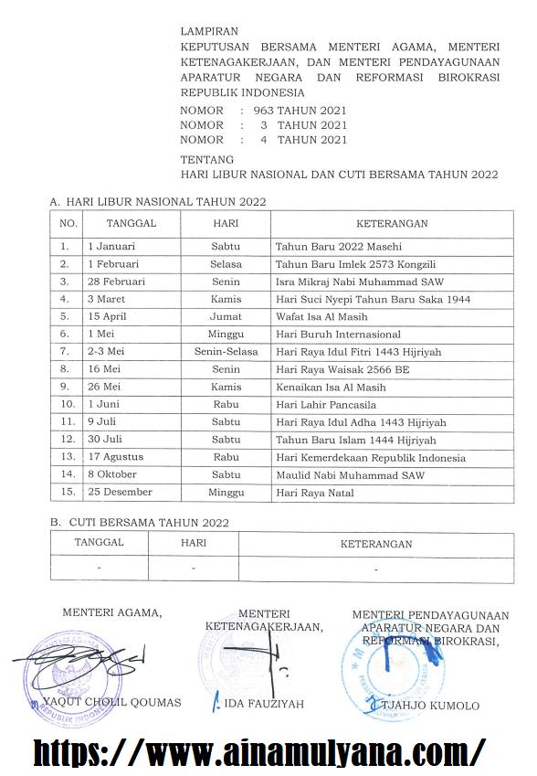 SKB 3 Menteri Tentang Daftar Hari Libur Nasional dan Cuti Bersama Tahun 2022