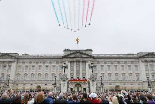 A spectacular #flypast by the @rafredarrows @RoyalAirForceUK at #TroopingTheColour today.png