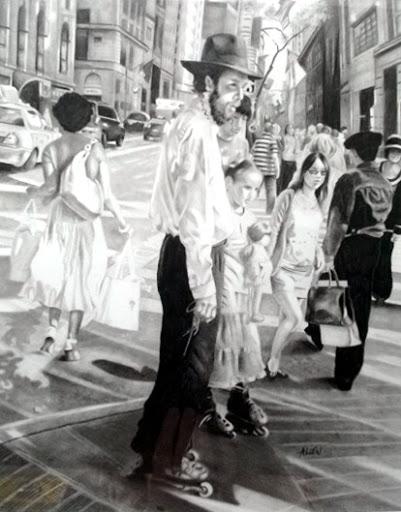 """""""Rabbi on Rollerblad?es"""" Graphite by Barb Allen."""