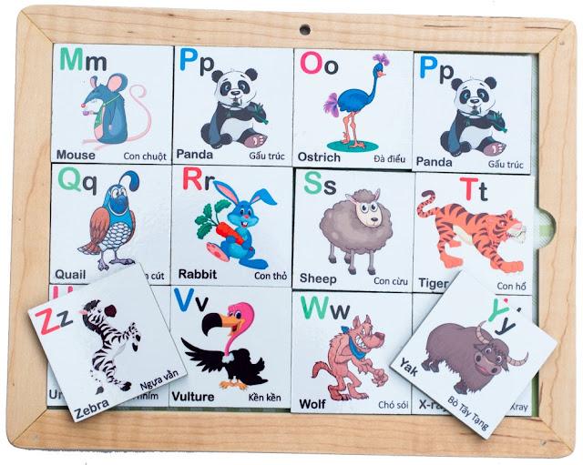 Bảng chữ cái hình động vật bằng gỗ nam châm giúp bé học chữ và động vật