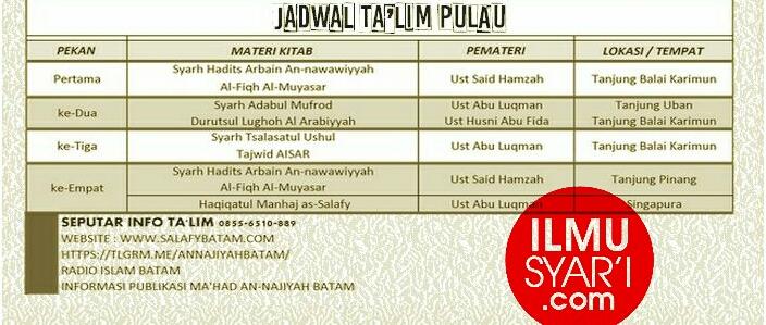 Informasi Jadwal Kajian Sunnah di Tanjung Balai Karimun