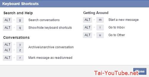 Hình 3 - Những phím tắt sử dụng Facebook trên trình duyệt Web