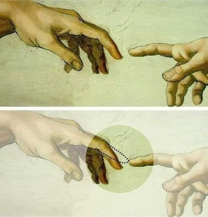 """Por que os dedos não se tocam no famoso quadro ′′A Criação de Adão"""" ?"""