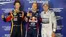 Romain Grosjean (FRA/ Lotus), Sebastian Vettel (GER/ Red Bull Racing) und Nico Rosberg (GER/ Mercedes GP)