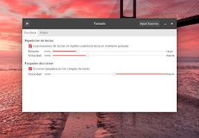 Configurar el hardware en GNOME. El teclado. Configuración.