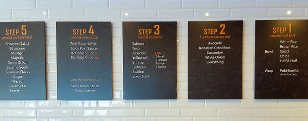 photo of the signs with the ordering process