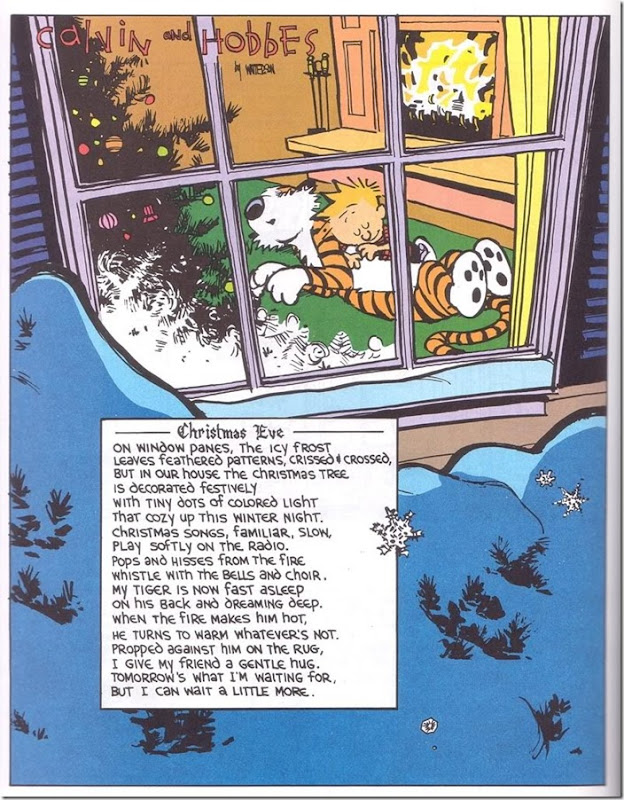 Calvin and hobbes Christmas poem by the fire