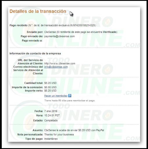 ClixSense pago recibido