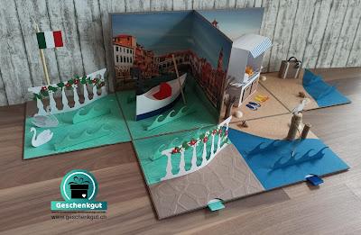 Geschenkbox Explosionsbox Überraschungsbox Strandkorb Nordsee Ostsee Venedig Reise Gutschein Ferien Urlaub