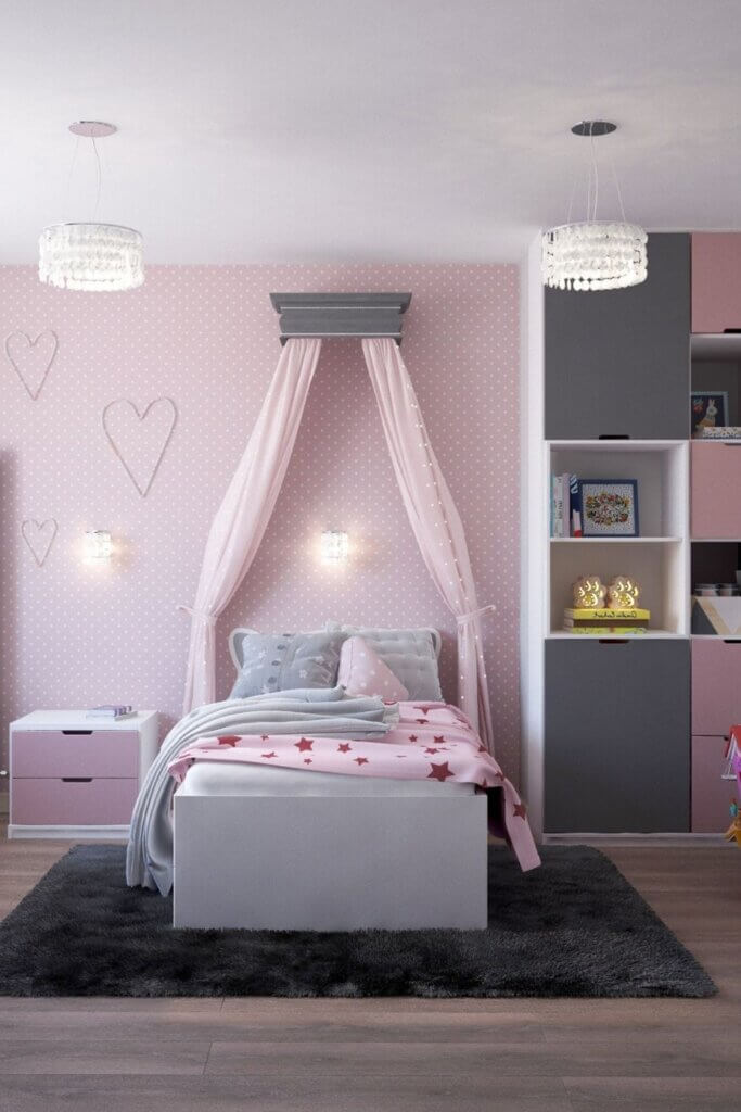Pink and Grey colour combination for a bedroom