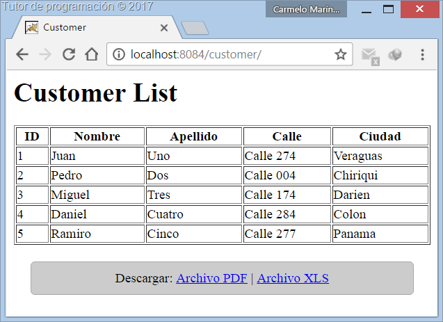 Spring MVC Generar archivos PDF y Excel XLS