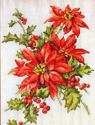 cross stitch pattern Christmas Star- motivo per stella di natale a punto croce.